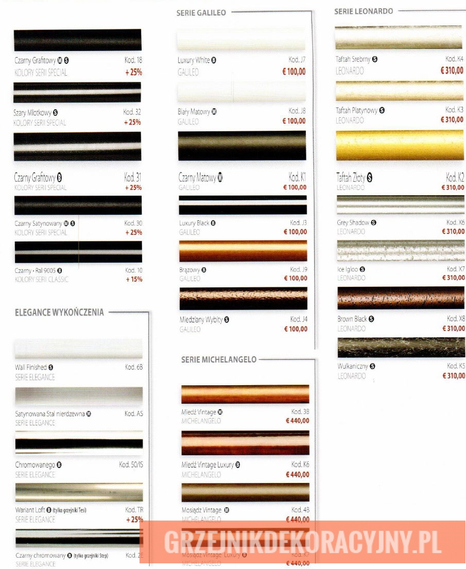Paleta kolorów specjalnych do grzejników dekoracyjnych Irsap