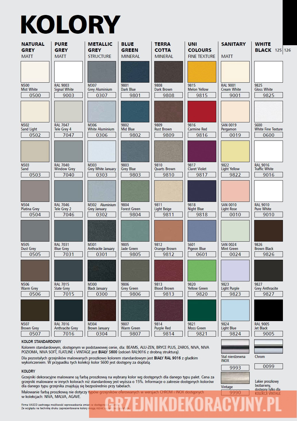 Kolory grzejników dekoracyjnych marki VASCO