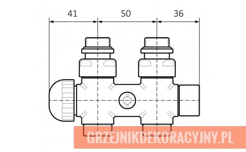 Zawór termostatyczny 50 mm prosty - schemat