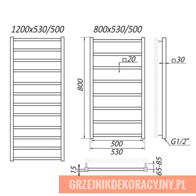 Grzejnik Kielce - rysunek techniczny   HeatPoint